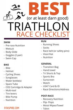 The BEST Triathlon Race Checklist. Don't leave anything at home that you need on… The BEST Triathlon Race Checklist. Don't leave anything at home that you need on race day with this comprehensive checklist. Everything you need from nutrition at the starti Sprint Triathlon Training, Triathlon Gear, Triathlon Checklist, Triathlon Women, Ironman Triathlon Motivation, Marathon Training, Xterra Triathlon, Half Ironman Training Plan, Triathlon Watch