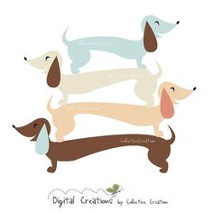 Sausage Dog / Dachshund Digital Clipart Set - Ideal for Scrapbooking, Card Making and Paper Crafts, Clip Art