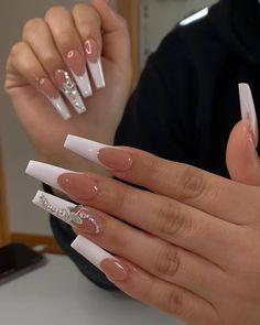 Bling Acrylic Nails, Acrylic Nails Coffin Short, White Acrylic Nails, Best Acrylic Nails, Coffin Nails, Classy Acrylic Nails, Glitter Nails, Nagel Bling, Long Square Acrylic Nails