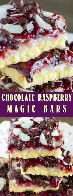 These Chocolate Raspberry Magic Bars are a little slice of heaven! They are really easy to make, and the variety of flavors and textures is irresistible!
