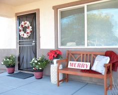 DIY Merry Sign + Holiday Porch with Lowes & Habitat for Humanity