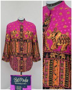 Vintage 90s Bob Mackie Fuchsia Asian Oversized Silk Jacket, Thai Elephant Print Long Jacket, Mandarin Collar Size L XL