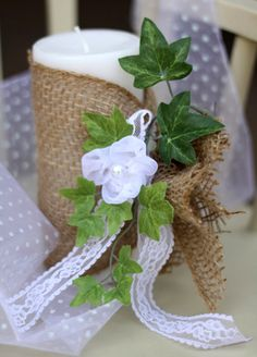 DIY Burlap & Lace Wedding Candle...cute idea, adding fresh flowers may spruce it up a bit