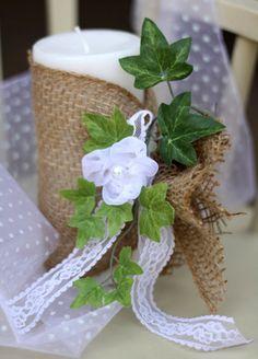 DIY Burlap & Lace Wedding Candle