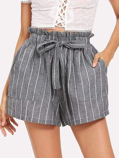 Shop Self Tie Waist Striped Shorts online. SheIn offers Self Tie Waist Striped Shorts & more to fit your fashionable needs. Grey Fashion, Look Fashion, Fashion News, Stripes Fashion, Fashion Women, Vintage Fashion, Fashion Trends, Belted Shorts, Striped Shorts