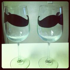 Painted Mustache Wine Glasses!  I'm going to paint these on martini glasses for Ethan's Dirty Thirty Birthday Party!