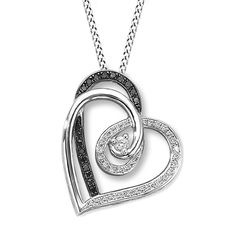 $223 Retail Diamond Heart Necklace 1/4 ct tw Black & White Sterling Silver  #Affinityhomeshopping #Heart