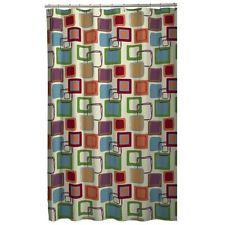 Shower Bath Bathroom Maytex Mills Squares Fabric Curtain Multi Color New
