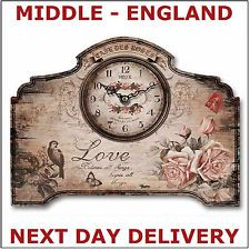 TABLE MANTLEPIECE CLOCK SHABBY CHIC METAL LOVE ROSES FLOWER BIRD DESIGN NEW