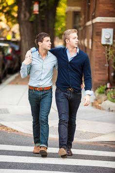 Gay couple walking across the street in Washington DC in causal fall attire Man 2 Man, Hugs, Couples Walking, Men Kissing, Cute Gay Couples, Engagement Couple, Fall Engagement, Couple Outfits, Couple Posing