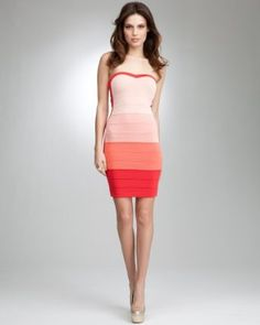 bebe Sweetheart Neck Ombre Tube Dress