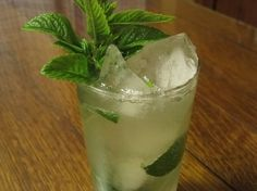 The gin-gin mule:  mint leaves, simple syrup, lime juice, gin, ginger beer.