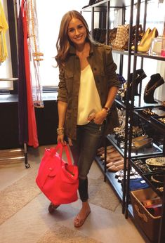 OP Wearing a Zara coat, AG Adriano Goldschmied skinny jeans, a Tibi camisole, and Pretty Ballerina shoes. The beautiful bag is Meli Melo!
