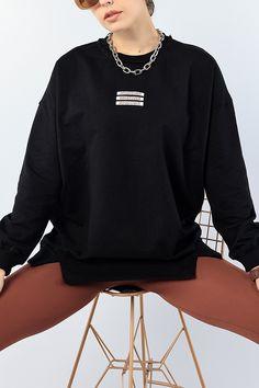 Siyah Nakışlı Salaş Bayan Sweat 75599 | ModamızBir | Modamizbir.Com