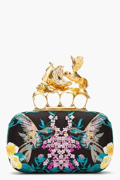 ALEXANDER MCQUEEN Blue and gold emboidered knuckleduster box clutch