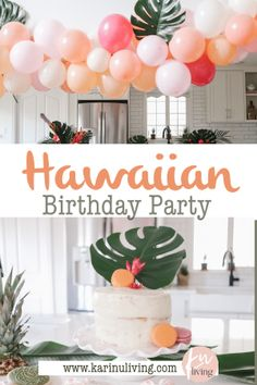 How to throw a Moana Birthday Party with beautiful muted pastels, tropical flowers and plants and a tropical balloon garland Moana Birthday Party, Hawaiian Birthday, Hawaiian Theme, 3rd Birthday Parties, Birthday Ideas, Birthday Backdrop, Birthday Balloons, Balloon Garland, Party Planning