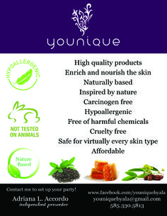 I LOVE YOUNIQUE. Younique begins by looking to Mother Nature for the inspiration behind our cosmetics. Our in-house scientific team then formulates a product that honors that inspiration while delivering cutting-edge cosmetics. Our goal is to provide healthy, clean, and pure cosmetics.