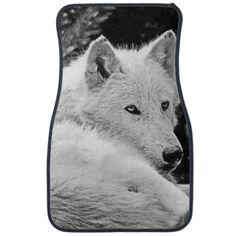 Stunning White Wolf Floor Mats