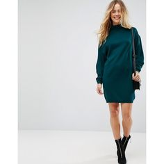 ASOS Knitted Mini Dress With High Neck And wide sleeves ($49) ❤ liked on Polyvore featuring dresses, green, party dresses, prom dresses, long-sleeve mini dresses, high neckline prom dress and short dresses