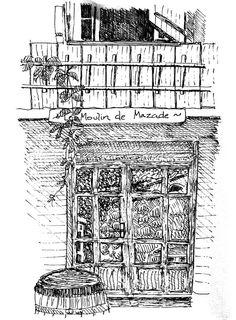 Le Moulin de Mazade, L'Ardeche. Pen drawing 1997