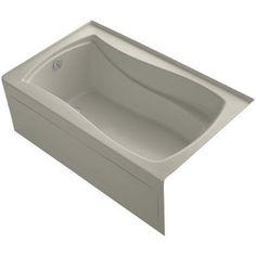 "Kohler Mariposa Alcove 60"" x 36"" Soaking Bathtub Finish: Sandbar, Drain Location: Left"