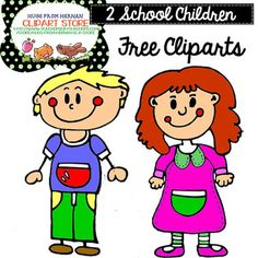 4 FREE School Children Cliparts Set for Personal and Comme