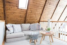 A lofted lounge area.