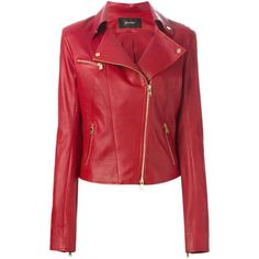 Jitrois Classic Biker Jacket (60,975 MXN) ❤ liked on Polyvore featuring outerwear, jackets, red, red biker jacket, leather jacket, leather motorcycle jacket, 100 leather jacket and red moto jacket