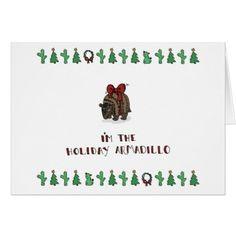 Holiday Armadillo Card - holidays diy custom design cyo holiday family