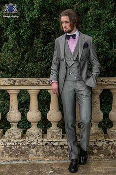 Traje de novio italiano a medida recto 2 botones, en tejido lana mixta alpaca gris perla, modelo 1177 Ottavio Nuccio Gala colección Gentleman 2015.