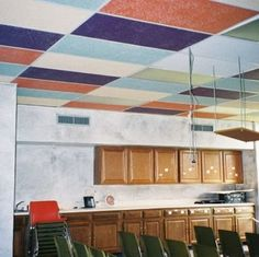 How To Makeover Drop Ceiling Tiles Painting Tiling Wall Decor Painted