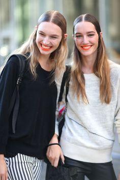 Vibrant Orange Lips with a #Smile   Street Style New York #Fashion Week Spring 2014 #nyfw #spring2014