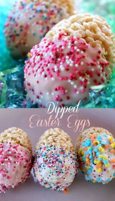 This Recipe for Dipped Easter Egg treats is the perfect Easter Recipe using Rice. This Recipe for Dipped Easter Egg treats is the perfect Easter Recipe using Rice Krispies. It's easy enough for kids Easy Easter Desserts, Easter Snacks, Easter Brunch, Holiday Desserts, Holiday Baking, Holiday Treats, Easter Food, Easter Crafts, Easter Deserts