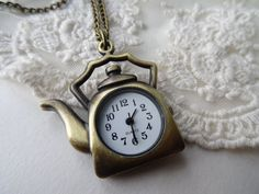 1 Tea Pocket Watch Necklace Tea Kettle Clock by PeculiarCollective