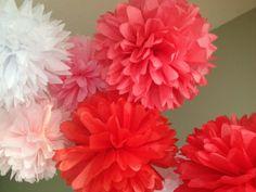 Be Mine - 7 Tissue Pom Flowers DIY Decor Kit - Valentines Day - Sweetest Day - Nursery Mobile Eye Development Flowers - $21