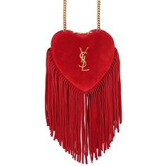 Saint Laurent Women Small Love Fringed Suede Bag (3.675 BRL) ❤ liked on Polyvore featuring bags, handbags, purses, red, ysl, man bag, fringe purse, handbag purse, shoulder strap handbags and red purse