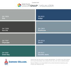 I found these colors with ColorSnap® Visualizer for iPhone by Sherwin-Williams: Storm Cloud (SW Colonnade Gray (SW Agreeable Gray (SW Naval (SW Breezy (SW Pewter Cast (SW Pure White (SW Tempe Star (SW Stormcloud