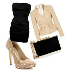tube top dress sequined stilettos a blazer and purse