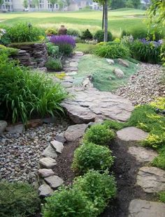 making dry creek bed drainage - Google Search