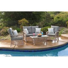 Comparison Attwater 4 Piece Sofa Set with Cushions By Darby Home Co Outdoor Patio Furniture Sale, Rattan Furniture Set, Outdoor Sofa Sets, Rattan Sofa, Outdoor Seating, Outdoor Decor, Wicker, Furniture Ideas, Outdoor Living