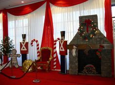 Join Santa on his throne next to a 10' faux stone fireplace and guarded by his 6 foot toy soldiers.