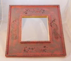 Hand Painted and Stamped Square Peacock Mirror by Red Devil Crafts Peacock Mirror, Pretty In Pink, Devil, Mirrors, Stamp, Hand Painted, Red, Handmade, Crafts