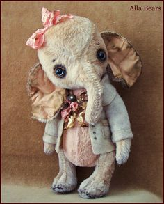 by Alla Bears original artist Winter Wonderland Elephant Ellie art toy doll Vintage Antique baby handmade stuffed home decor Christmas