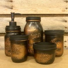 Vintage Mason Jar Bathroom Set, Black Copper Bathroom Set, Rustic Copper Mason Jar Desk Set, Mens Rustic Copper Bathroom Accessories by AmericanaGloriana on Etsy https://www.etsy.com/listing/294954897/vintage-mason-jar-bathroom-set-black