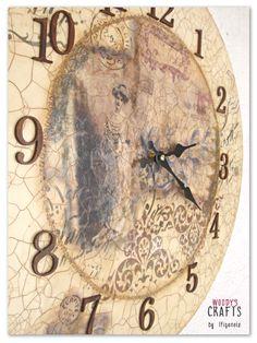 Διακοσμητικό ξύλινο ρολόι σε Vintage στυλ | Διακοσμητικά Τοίχου | Περισσότερα στη διεύθυνση: http://j.mp/woodys-crafts-gallery-rologia-toixou