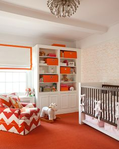 Orange and white, modern nursery design. Love the Chevron glider. Tangerine Tango.  Good color scheme for a toy room!  Simple solution for window treatment and works well in most bedrooms or bath.