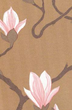 Magnolia Wallpaper Large magnolia printed wallpaper on gold