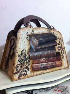 Boyalı_parmaklar Gazetelik kitap temalı. One-of-a-kind Handcrafted Bag - Beautiful!