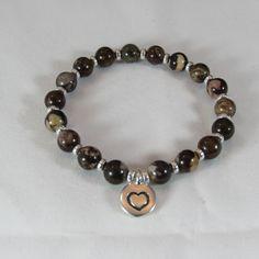 Brown Agate Stretch Bracelet/ Sterling Silver Heart Charm Bracelet/ Neutral Color Bracelet/ Handmade/ Hand Crafted/ Stretch Bracelet by NellieAnneDesigns on Etsy