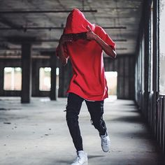 Men Fashion Oversized TShirt Hoodie Red Dope Swag Urban Style Trend